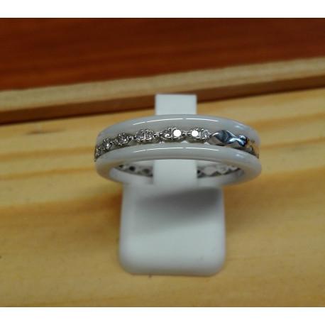 Bague Or Blanc Céramique Diamants