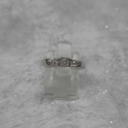 Solitaire Accompagné Or Blanc et Diamants