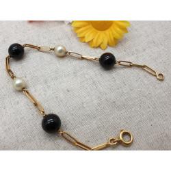 Bracelet perles Noirs et blanches