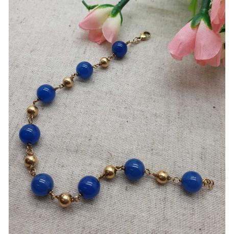 Bracelet Or Boules Bleues