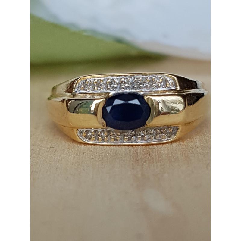 Bague Or En Et 18k Diamants Splendide Jaune Saphir Avec UzMpSV