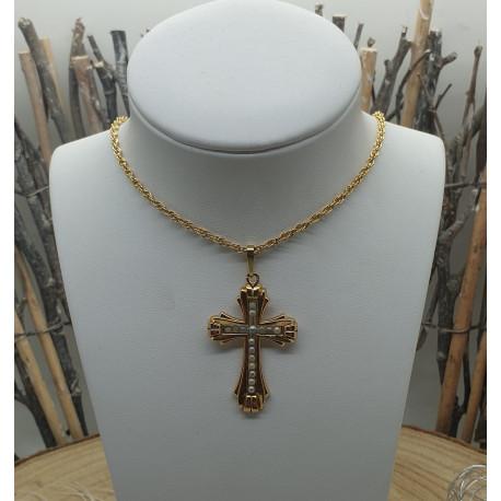 Pendentif Crucifix Or Jaune avec Perles