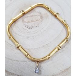 Bracelet Jonc carré avec 6 diamants