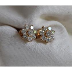 Boucles d'Oreille Fleur en Diamants