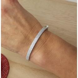 Bracelet Jonc Or Blanc et Oxydes