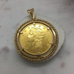 Pendentif Or Pièce 20 Dollars 1904