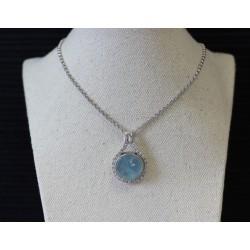 Collier en Or blanc Diamants et Quartz Bleu