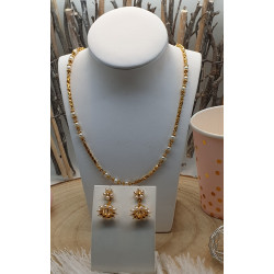Parure Collier et Boucle d'Oreilles avec Perles