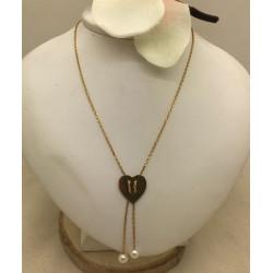 Collier cravate Or avec Perles