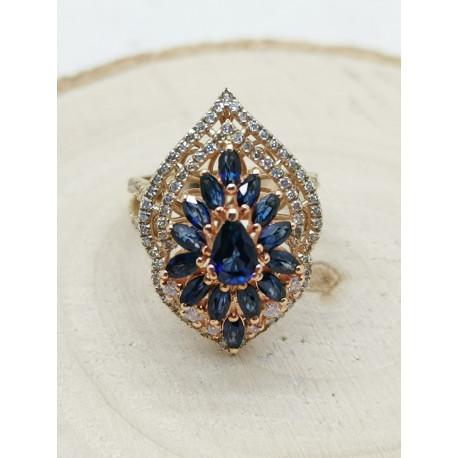 Bague Marquise Saphirs et Diamants