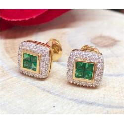 Boucles d'oreille Diamants Emeraudes
