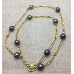 Collier Or et Perles Tahiti