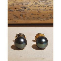 Boucles d'oreille perles de Tahiti