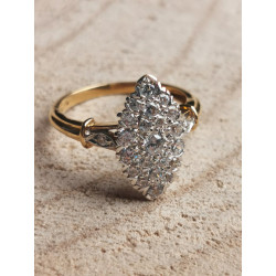 Bague Marquise 2 Ors avec Oxyde