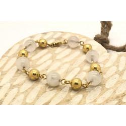 Bracelet Maille Boule avec Perle