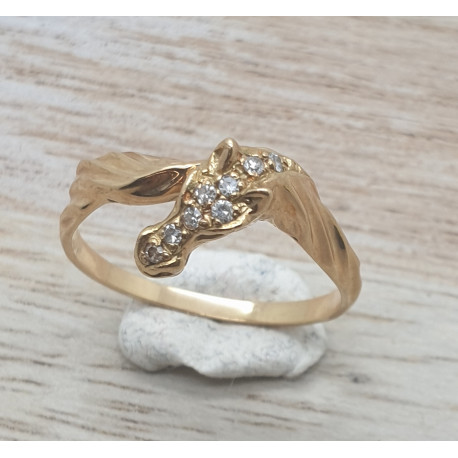 Bague Cheval or et diamants