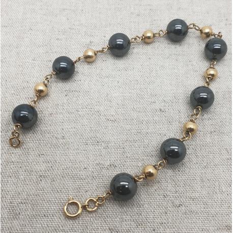 Bracelet Or avec Boule Noire
