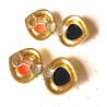 Boucles d'Oreille Or avec Diamant, Onyx et Corail