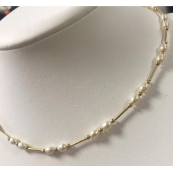 Collier Or avec Perle Blanche