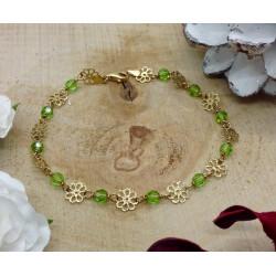 Bracelet or et perles vertes