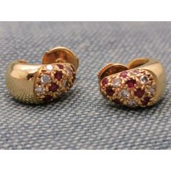 Boucles d'Oreille Or avec Rubis et Diamant