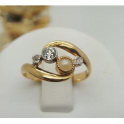 Bague Or avec Perle et Diamant