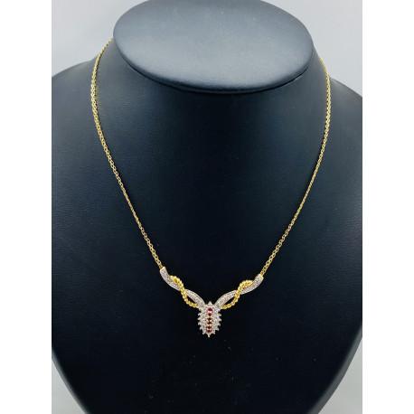 Collier Or avec Rubis et Diamant