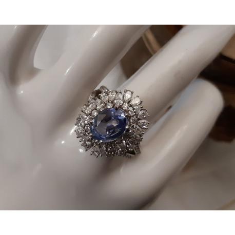 Bague Marguerite Saphir de Ceylan et diamants