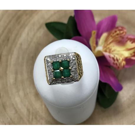 Bague Diamants Emeraudes