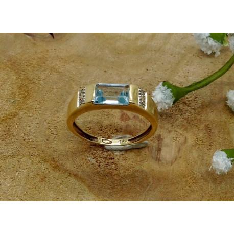 Bague Or avec Aigue Marine et Diamant