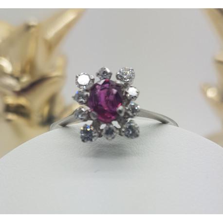 Bague Fleur avec Rubis et Diamant
