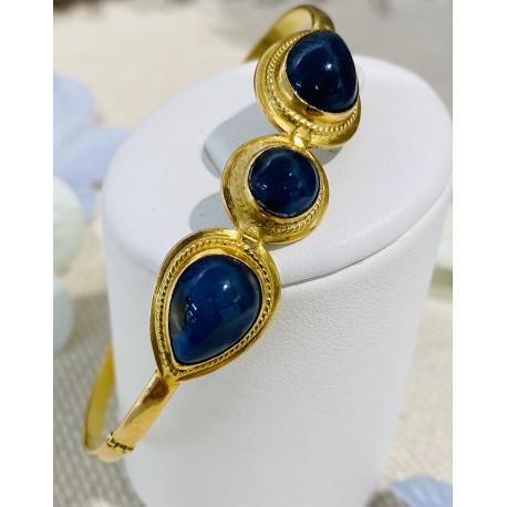 Bracelet Semi JoncOr et Saphirs