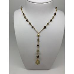 Collier or et perles transparentes