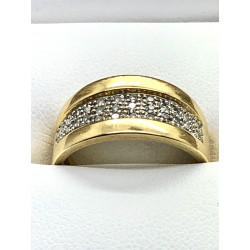 Bague or jaune pavage diamants
