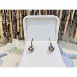 Boucles d'oreille 2 Ors avec saphirs blancs