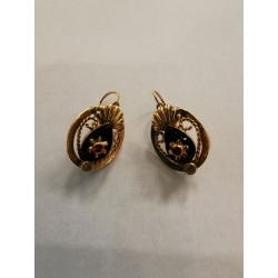 Boucles d'Oreille Or avec Pierre rouge et Onyx