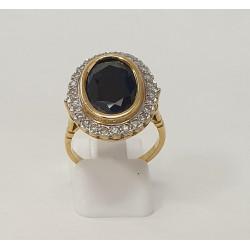 Bague Or avec Diamant et Pierre Noire
