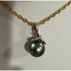 Pendentif Perle de Tahiti et diamants