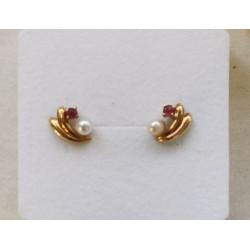 Boucles d'Oreilles Or avec Rubis et Perle