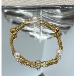 Bracelet or et Perles