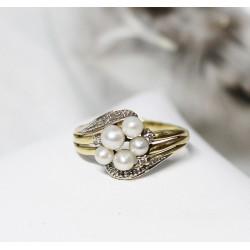 Bague en Or jaune et blanc avec Perles et éclats de diamants