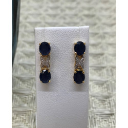 Boucles d'Oreille avec Saphir et Diamant