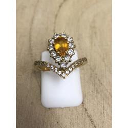 Bague Saphir jaune diamants