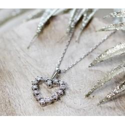 Collier Coeur en Or blanc avec diamants