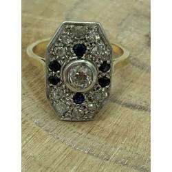 Bague Baroque avec Diamant et Saphir