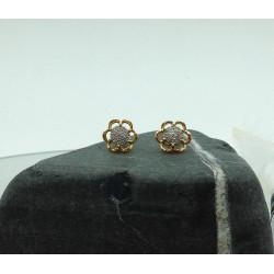 Boucles d'Oreille 2 Ors avec Diamant