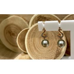 Boucles d'Oreille Or avec Perle