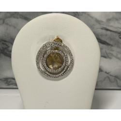 Pendentif Or avec Quartz et Diamant