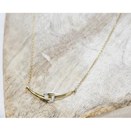 Collier 2 Ors avec éclats de diamants