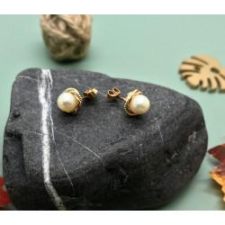 Boucles d'Oreille 3 Ors avec Perle